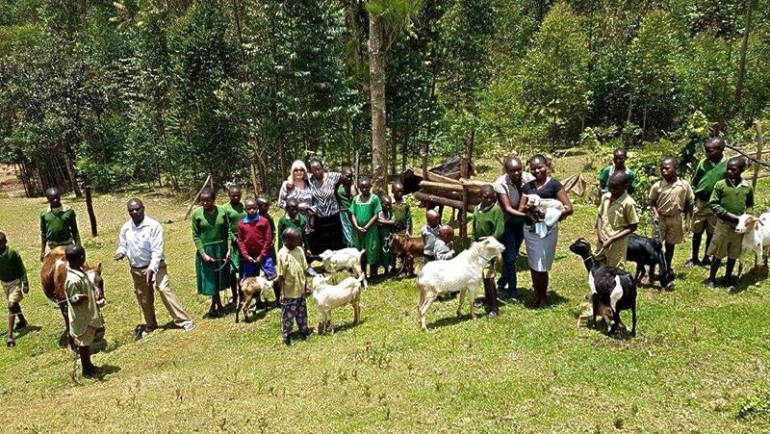 Orphanage has animals: Calves, Chickens and now Goats